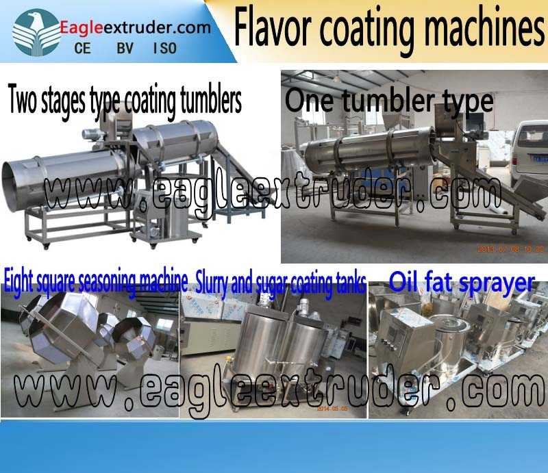 puffed snacks food/peanut/potato chips flavor coating tumbler making machine