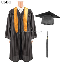 Wholesale Custom High Quality College University Academic Cap Black Graduation Gown for School