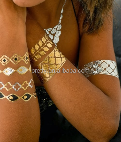 Fashion Body Art Rock Style Metallic Body Tattoo Stickers Bracelet and Necklace Temporary Tattoo Stickers