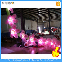 10m long inflatable rose flower chain with LED light