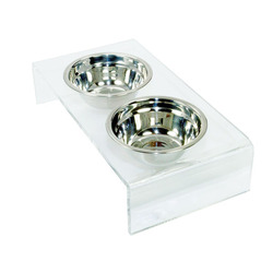 Clear Acrylic Pet Dinner Table Dog Cats Bowls Holder Feeders Table