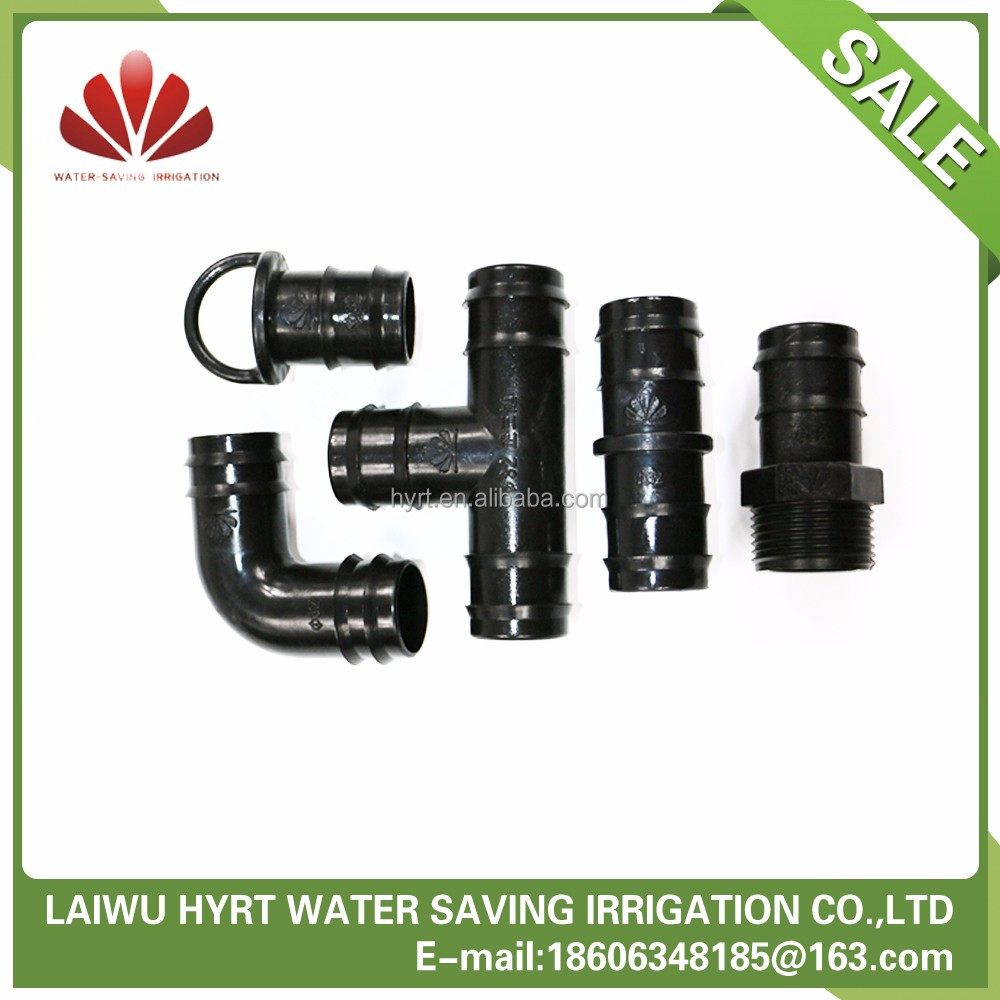Plastic drip irrigation water line fittings