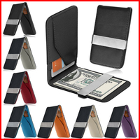 Free Shipping! Mens Genuine Leather Silver Money Clip Slim Wallets Black ID Credit Card Holder