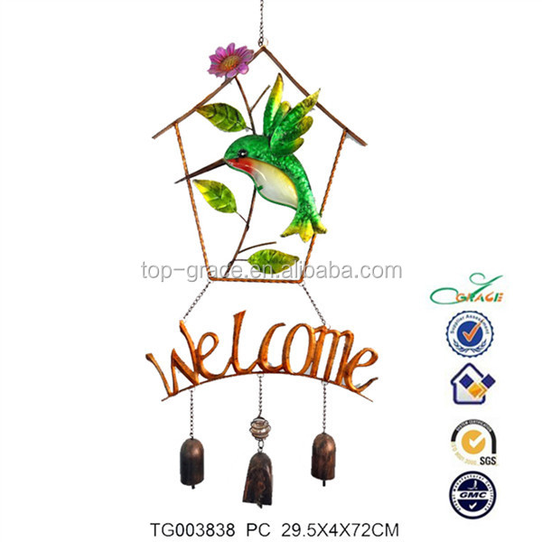 Stainless glass hummingbird wind chime