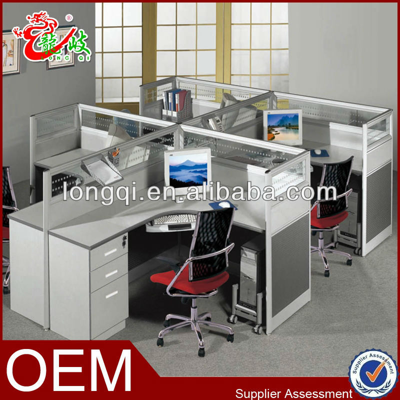 modern design aluminium office partition system workstation for 4 person