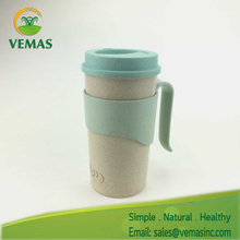 100% eco-friendly rice husks fiber plastic fashion cup with handle