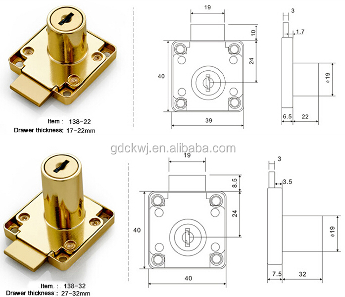 F-03 Furniture Drawer Lock 138 Series,Cabinet Zinc Alloy Lock For Office Desk, Hidden Drawer Lock