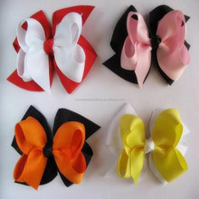 Girls 6 inches large kids plain ribbon bow headband with elastic hair accessories various color bow hairclips