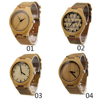 New arrival japanese miyota 2035 movement wristwatches genuine leather bamboo wooden watches for men and women christmas gifts