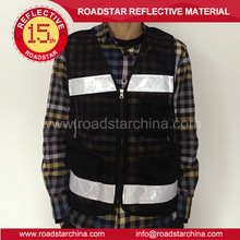 Black safety reflective mesh traffic vest with PVC high vis prismatic tape for traffic protection wear