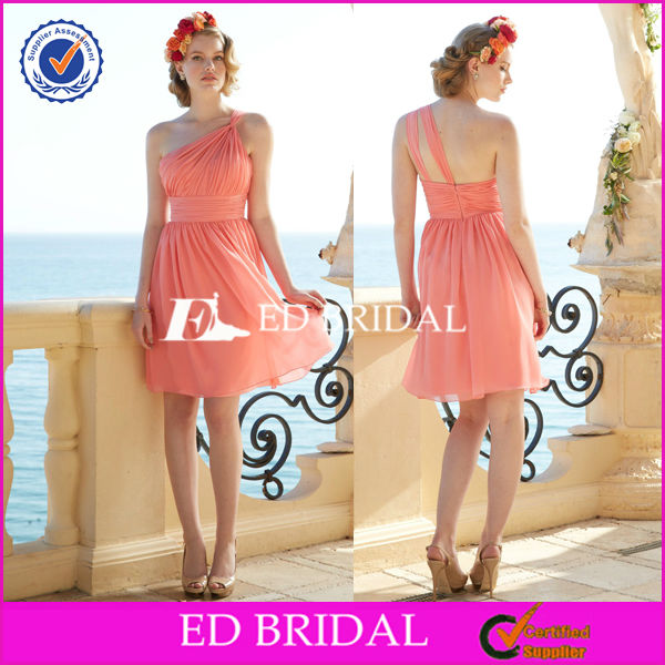 2014 B222 A-line One Shoulder Pleated Chiffon Coral Short Maid Of Honor Dress