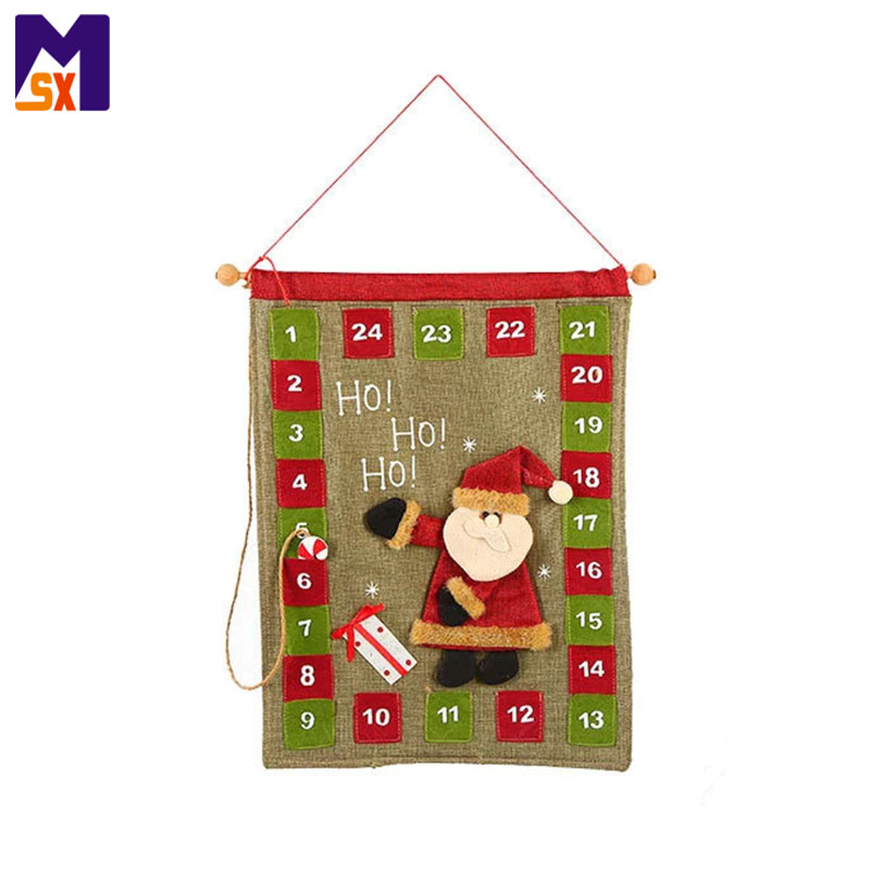 Santa Claus Burlap Fabric Christmas Countdown Advent Calendar