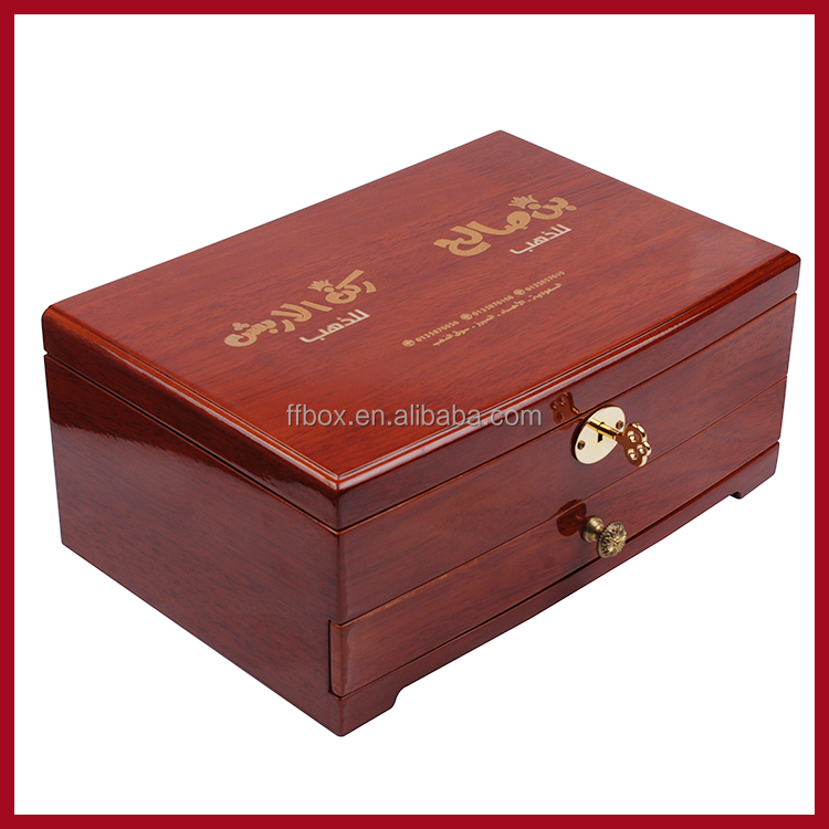 High Glossy Arabic 2 Layer Luxury Wooden Jewelry Case