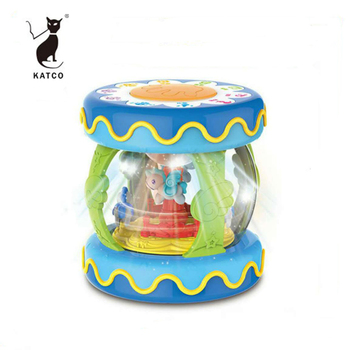 Wholesale cartoon kids toy educational musical hand drum toys with Light