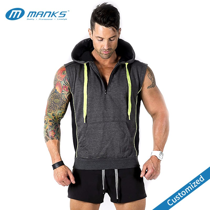 Custom Men Cotton And Polyester Gym Sleeveless Hoodie