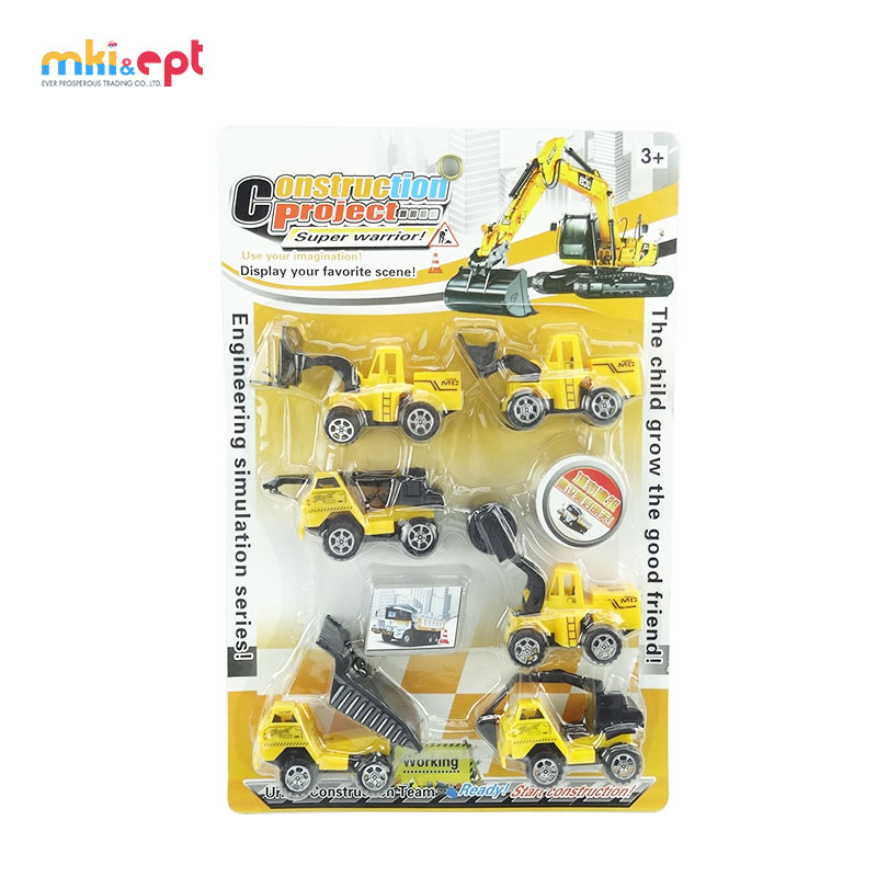 Plastic construction project kid toy car pull back truck toy