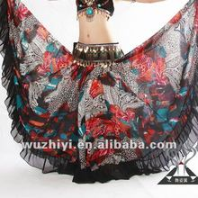 2014 fashion sexy women chiffon peacock color plus size tribal belly dance performance skirts