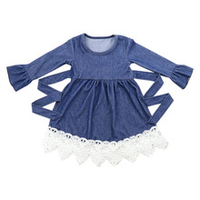 100% cotton boutique <strong>girl's</strong> clothing long sleeve lace denim <strong>dress</strong> in stock Girls <strong>dress</strong>