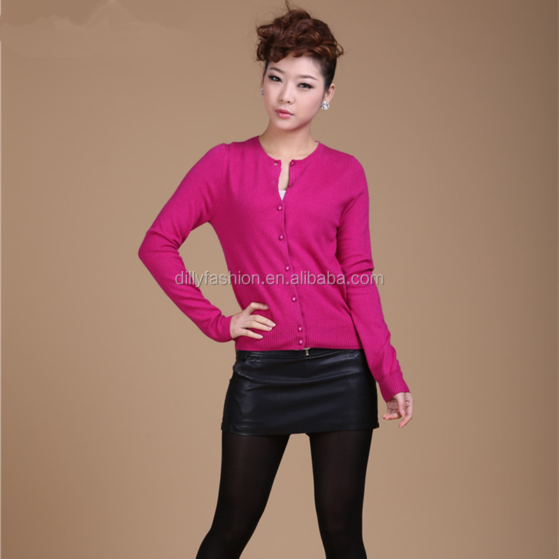 wholesale women knitted cashmere round neck cardigan solid cardigan