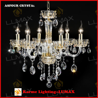 KARME LIGHTING gold color Asfour crystal light #7723-6L six lights chandelier