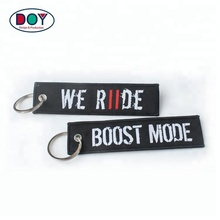 Wholesale Cheap Twill Promotion Machine Embroidery Custom Woven Textile Logo Keychain Manufacturer