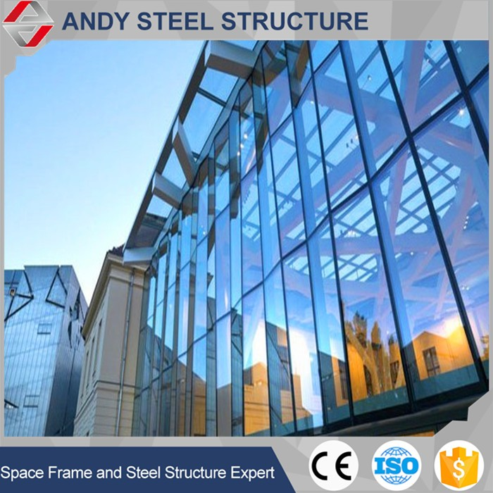LOW-E Building glass aluminium curtain wall exposed frame curtain wall
