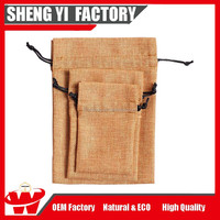 Eco Friendly Natural Small Jute Drawstring Burlap Bags Wholesale