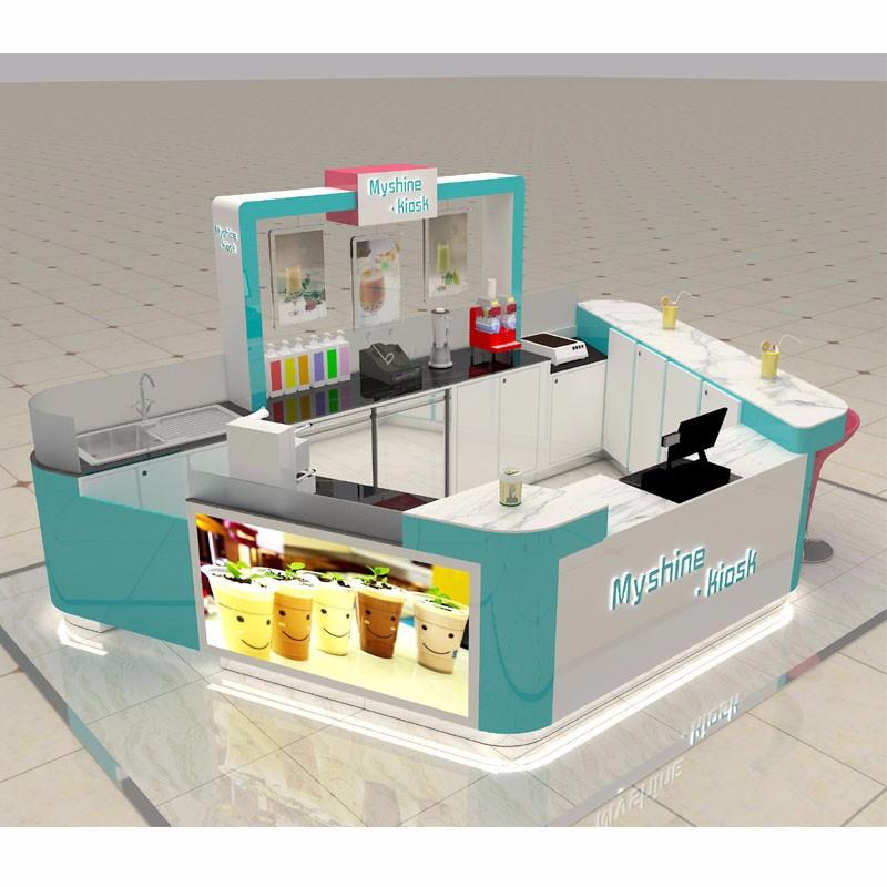 Professional free design food kiosk indoor for bubble tea for Indoor food kiosk design
