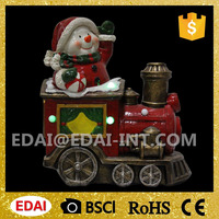 Polyresin lighted outdoor christmas train with music and adaptor christmas train decoration