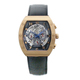 men watch square watch case visible mechanical skeleton watch movement leather bracelet stainless steel back