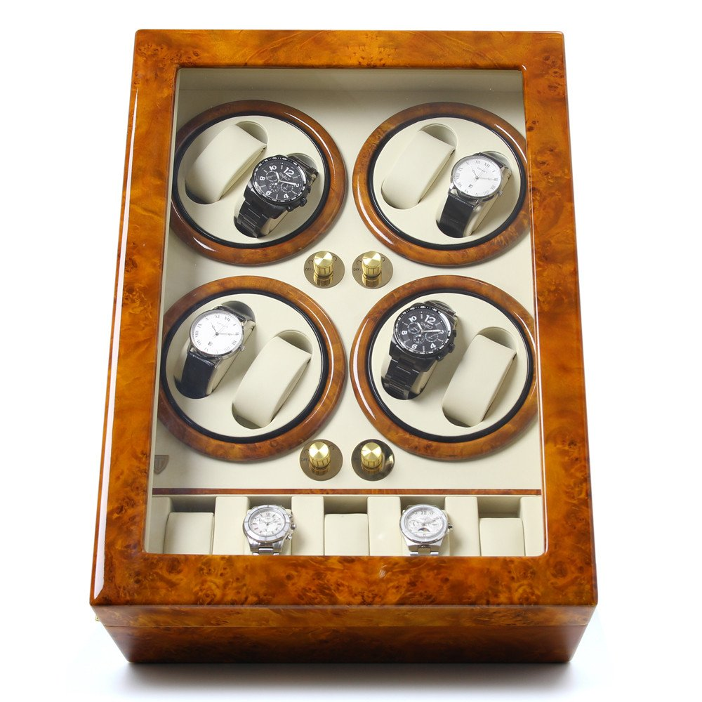 8+5 Piano Lacuqer Burl Wood Mens Quad Automatic Watch Winder