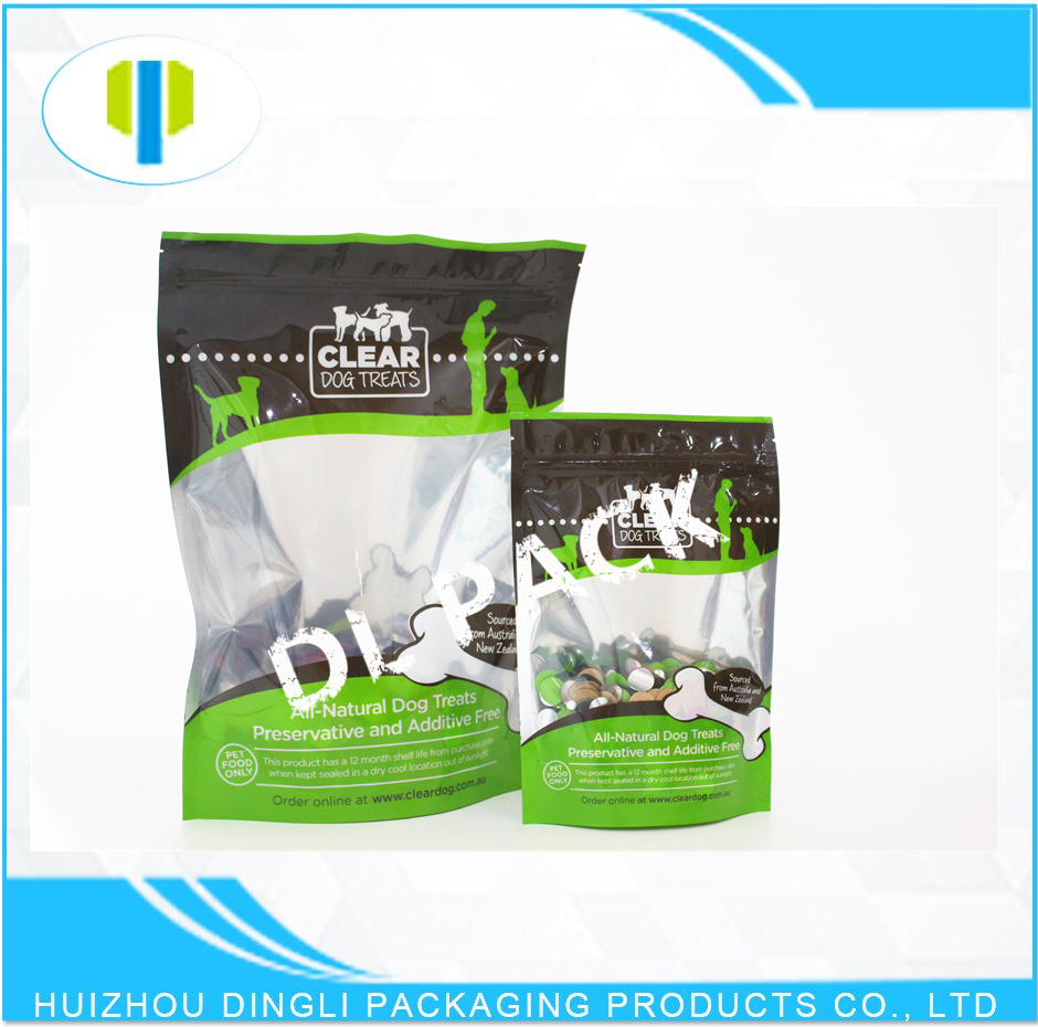 OEM stand up zipper resealable animals feeds packaging bags with window