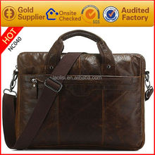 Top quality vintage style polo leather laptop bag 15.6 inch