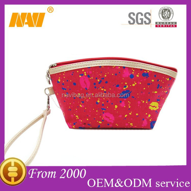 Fashion lip print canvas travel cosmetics bag case with handle makeup bag case organizer toiletry bag