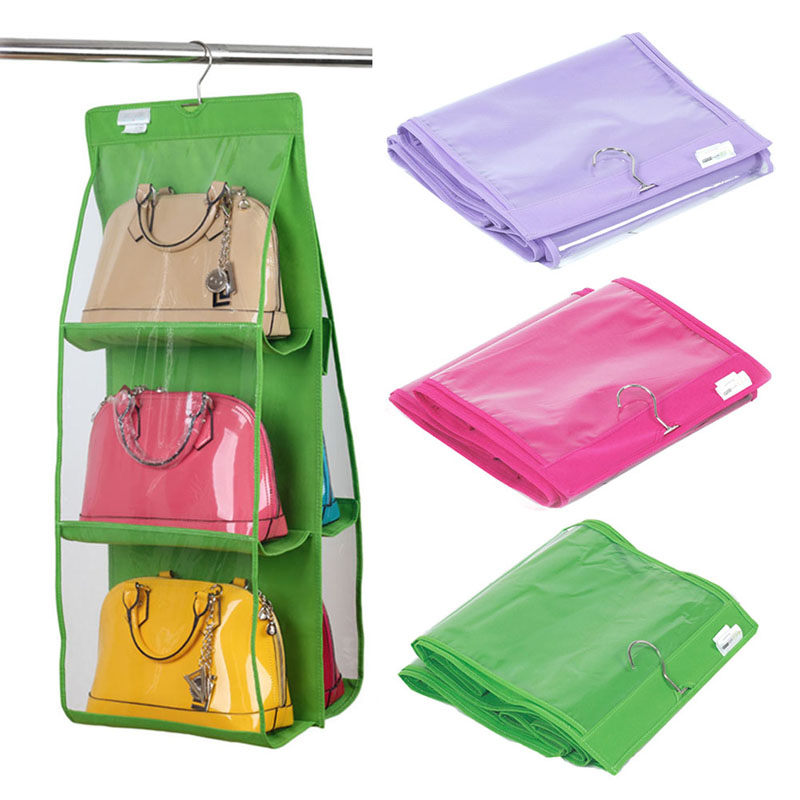50pcs 6 Pocket Bag Organizer Handbag Hanging Storage Tote Bag Storage Organizer Closet Rank for Storage 90*35*35cm taobao <strong>agent</strong>
