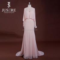 Elegant High Neck Beaded Pink Chiffon Designer Patterns Evening Dress For Muslim Women With Long Sleeves