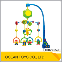 China baby toy manufacturer cheap plastic shaking crib musical baby bed hanging toy, phone winkel rattle toys for baby