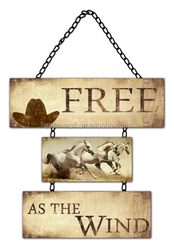 FREE AS THE WIND PRINTED CHEAP IRON WALL ART DECOR