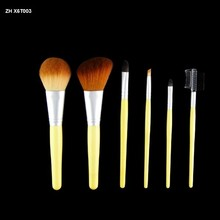 Wood Handle Makeup Cosmetic Eyeshadow Foundation Concealer Brush Set Pouch