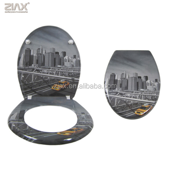 CITY DESIGN WC TOILET SEAT PRINTED SOFT CLOSE STABLE HINGES