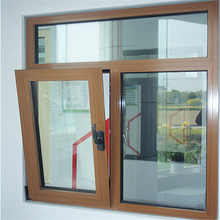 Wood Color Aluminium Double Glazed Windows for Tilt and Turn Aluminium Window
