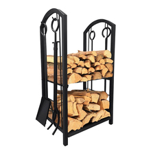 Case Iron Vertical Firewood Rack Fireplace Accessories