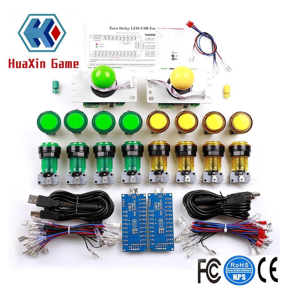 LED Arcade DIY Parts Zero Delay USB Encoder 5 pin Joystick Ring fixing Illuminated Push Button with Microswitch For Raspberry Pi