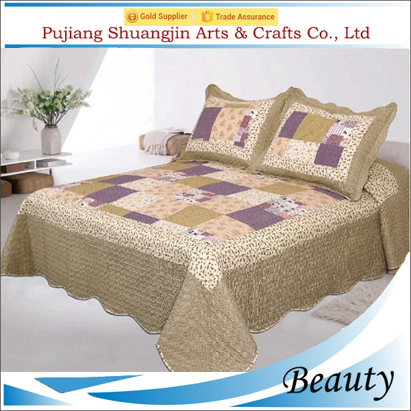 China manufacturer new fashion polyester plaid printed patchwork bedsheet
