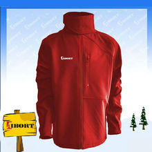 Mens red softshell sports men jacket with stand collar