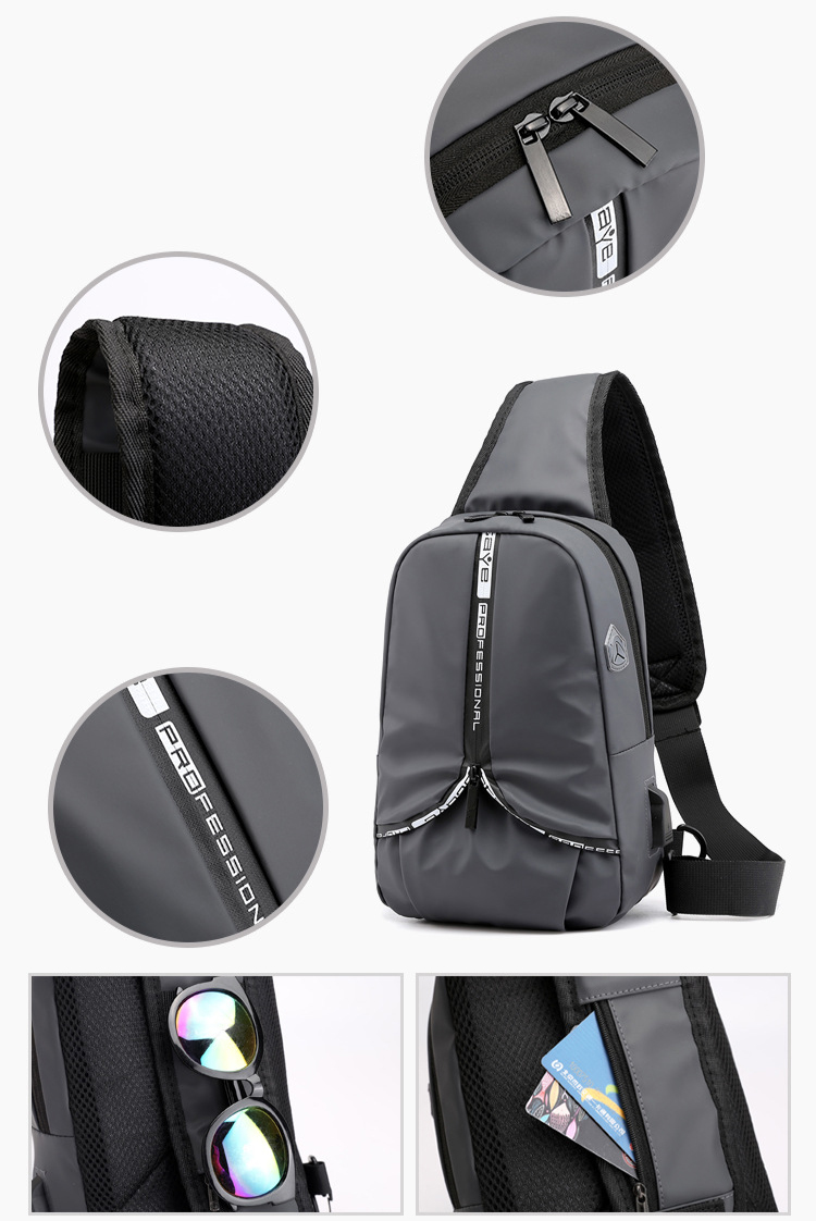 Waterproof Fashion Lightweight Sport crossbody messenger sling bags Casual USB charging chest bag men with Headphone Jack