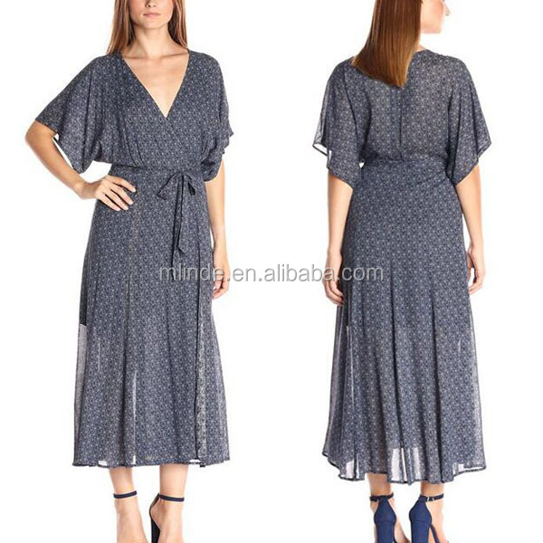 Wholesale 100% polyester plus size short sleeve waistband women maxi dress with inside liner