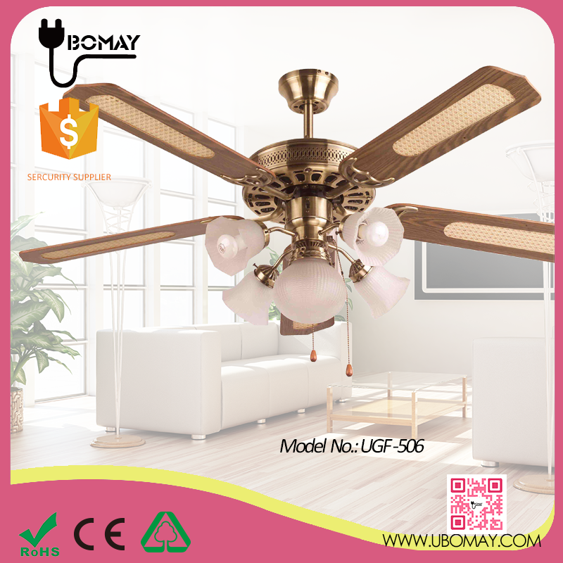 large size wood blades air cooler celing fan with Lamps for home room