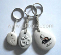 Engraved river stone Key Chain