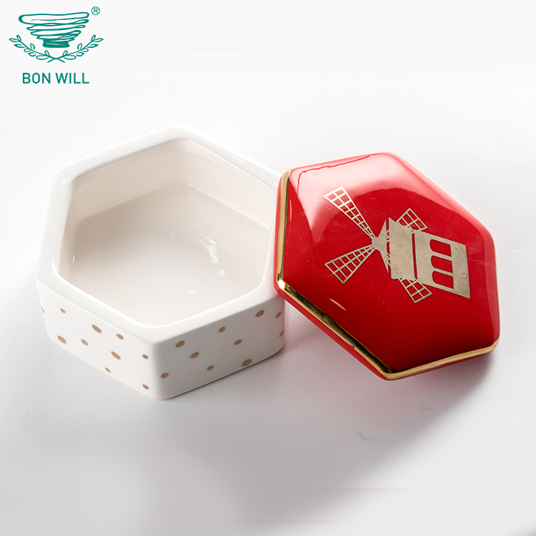 Custom high quality wedding favor gif decal ceramic jewelry ring trinket box